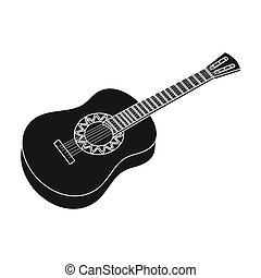 Mexican acoustic guitar icon in black style isolated on white background. Mexico country symbol stock bitmap, rastr illustration.