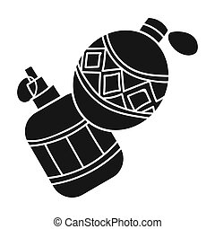 Paintball hand grenade icon in black style isolated on white...
