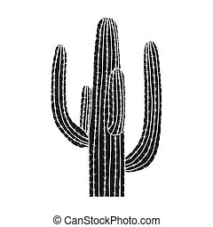 Mexican cactus icon in black style isolated on white...