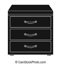 Office filing cabinet icon in black style isolated on white...