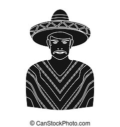Mexican man in sombrero and poncho icon in black style isolated on white background. Mexico country symbol stock bitmap, rastr illustration.