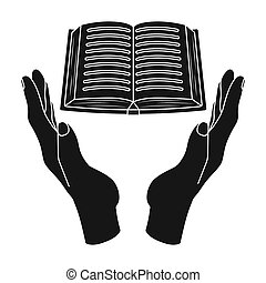 Book donation icon in black style isolated on white...