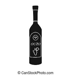 Bottle of ouzo icon in black style isolated on white...