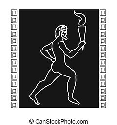 Athlete with olympic fire icon in black style isolated on...
