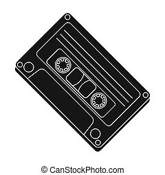 Audio cassette icon in black style isolated on white...