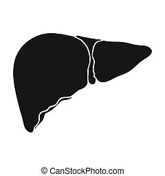 Human liver icon in black style isolated on white...