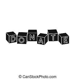 Toys donation icon in black style isolated on white...