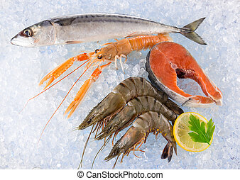 Fresh seafood on crushed ice. - Fresh seafood on crushed...