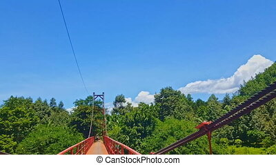 Camera Moves Through Suspension Bridge - camera moves...