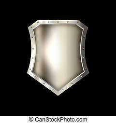 Ancient riveted shield on black background.