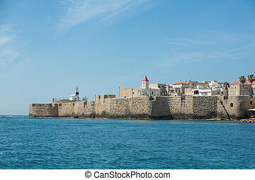 View of the city of Akko from the sea - ACRE (AKKO), ISRAEL...
