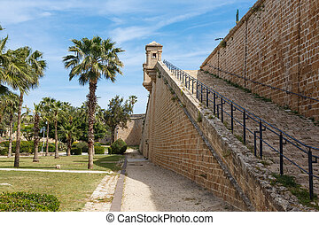Rampart walls in old city Akko or Acre, Israel - Rampart...