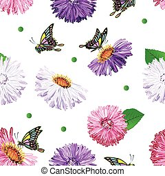 Seamless pattern of flowers and butterflies
