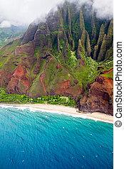 Na Pali Coast, Kauai - Aerial view of the Na Pali Coast on...