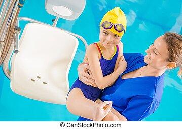 enfants, piscine, Rééducation