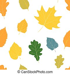 Seamless pattern with colorful autumn leaves. Vector pattern...