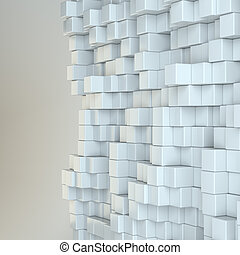 Wall of white cubes. 3D Illustration. Gray background. Web...