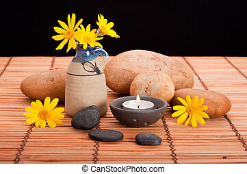 Spa Still Life - Spa still life with pebbles, candle and...