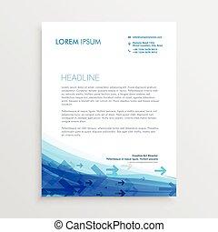 blue letterhead design template with arrows