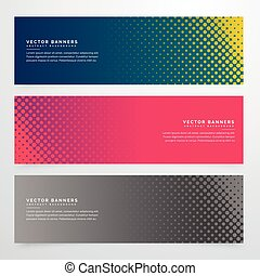 halftone style banners set