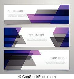 purple and gray geometric shapes buisness banners set