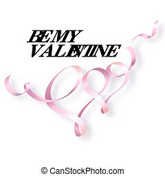 Happy Valentines day card. Heart with pink ribbon....