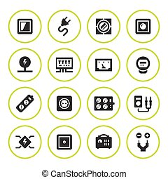 Set round icons of electricity isolated on white. Vector...