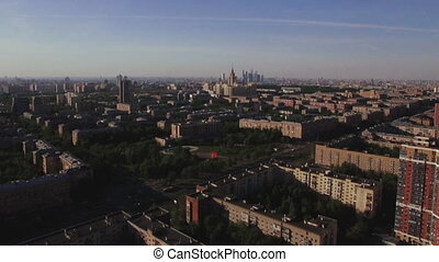 Aerial Moscow cityscape, Russia - Flying over the Russian...