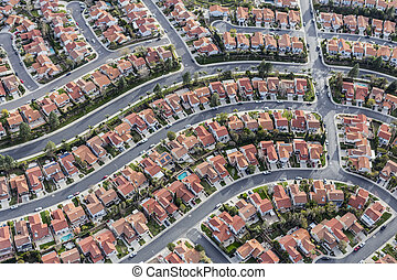 Los Angeles Suburban Neighborhood Aerial - Aerial view of...