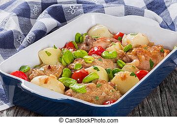 manteiga, batatas, carne, feijões, guisado, Novo, galinha,  Lima, tomates