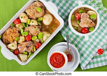 legumes, coisas, topo, Forno, galinha, ASSADO, vista