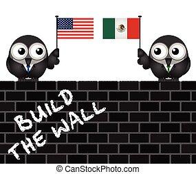 USA Mexico border wall - Representation of the USA border...