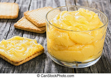 lemon curd in glass cup. blueberry and mint , close-up -...