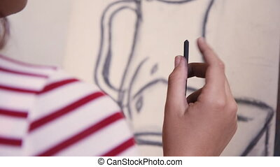 Close-up Of Female Hand Drawing Young Woman Sketching Artist...