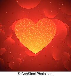 golden heart on red bokeh background