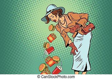 Beautiful retro woman vomiting fast food. Comic pop art...