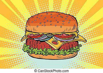 Retro juicy delicious Burger with meat and salad. Comic pop...