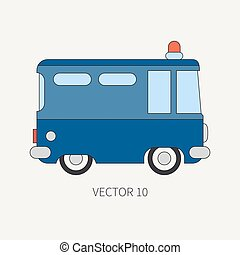 Line flat vector color icon police truck. Special purpose...