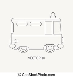 Line flat plain vector icon police truck. Special purpose...