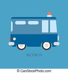 Plain flat vector color icon police truck. Special purpose...