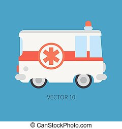 Plain flat plain vector icon ambulance car. Emergency assistance vehicle. Cartoon style. Reanimation. Maintenance. Paramedics. Medicine. Hospital. Rescue. Illustration and element for your design.