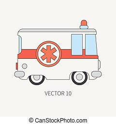 Line flat vector color icon ambulance car. Emergency assistance vehicle. Cartoon style. Reanimation. Maintenance. Paramedics. Medicine. Hospital. Rescue. Illustration and element for your design. Road
