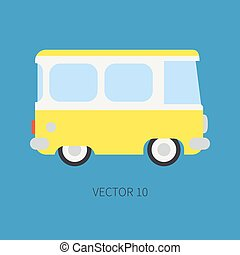 Plain flat vector color icon minibus taxi car. Commercial vehicle. Cartoon vintage style. Transportation. Traveling family van. Trip over long distance. Road. Illustration and element for your design.