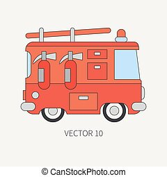 Line flat vector color icon fire truck. Emergency assistance vehicle. Cartoon style. Fireman. Maintenance. Rescue. Fire department. Extinguisher. Siren. Road. Illustration and element for your design.