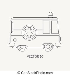 Line flat plain vector icon ambulance car. Emergency assistance vehicle. Cartoon style. Reanimation. Maintenance. Paramedics. Medicine. Hospital. Rescue. Illustration and element for your design. Road