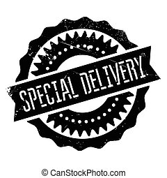 Special delivery stamp. Grunge design with dust scratches....