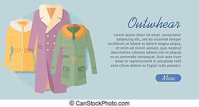 Outerwear Web Banner. Winter Collection for Woman