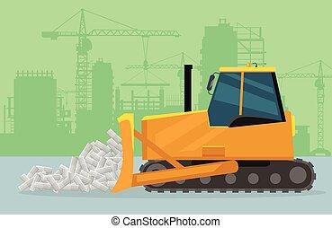Bulldozer on Construction Flat Vector Concept