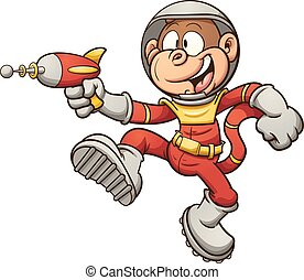 Space monkey with a retro ray gun. Vector clip art...