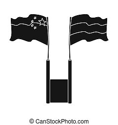Russia and China flags icon in black style isolated on white...